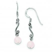 Rose Quartz Antiqued Dangle Earrings in Sterling Silver