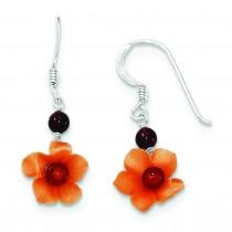 Garnet Bead Carnelian Dangle Flower Earrings in Sterling Silver