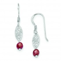 Red Freshwater Cultured Pearl Filigree Dangle Earrings in Sterling Silver