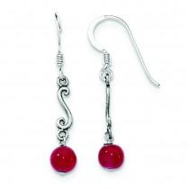 Strawberry Quartz Antiqued Dangle Earrings in Sterling Silver