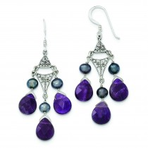 Amethyst Peacock Cultured Pearl Earrings in Sterling Silver