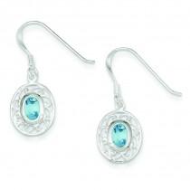 Blue Topaz Fancy Dangle Earrings in Sterling Silver