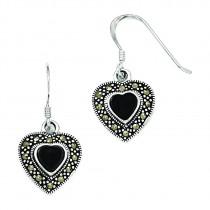 Onyx Heart Marcasite Earrings in Sterling Silver