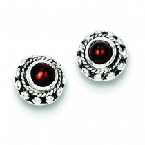 Antiqued Garnet Earrings in Sterling Silver