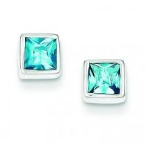 Squared Light Blue CZ Earrings in Sterling Silver