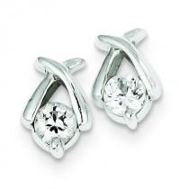 CZ Post Earrings in Sterling Silver