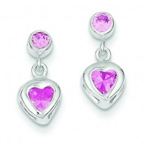 Pink Heart CZ Earrings in Sterling Silver
