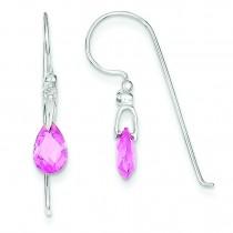 Pink Teardrop CZ Earrings in Sterling Silver