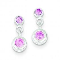 Pink CZ Dangle Post Earrings in Sterling Silver