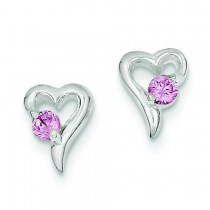 Pink CZ Heart Post Earrings in Sterling Silver