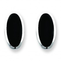 Onyx Non-pierced Earrings in Sterling Silver