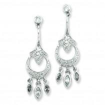 CZ Chandelier Earrings in Sterling Silver