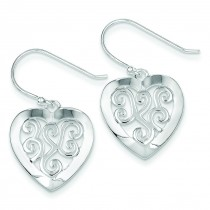 Etched-design Heart Earrings in Sterling Silver