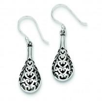 Antiqued Fancy Dangle Earrings in Sterling Silver