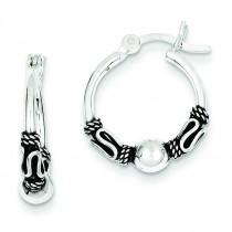 Antiqued Fancy Beaded Hoop Earrings in Sterling Silver