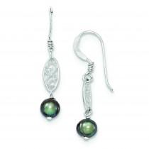 Gray Cultured Pearl Filigree Dangle Earrings in Sterling Silver