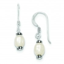 White Cultured Pearl Marcasite Bead Dangle Earrings in Sterling Silver