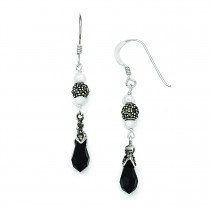 Onyx Fresh Water Cultured Pearl Marcasite Dangle Earrings in Sterling Silver