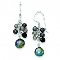 Gray Cultured Pearls Onyx Dangle Earrings in Sterling Silver