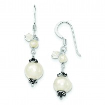 White Cultured Pearl Crystal Antiqued Dangle Earrings in Sterling Silver