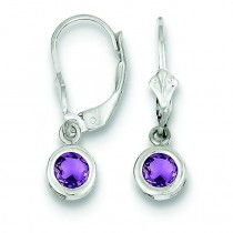 Round Amethyst Leverback Earrings in Sterling Silver