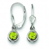 Round Peridot Leverback Earrings in Sterling Silver