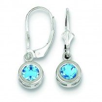 Round Blue Topaz Leverback Earrings in Sterling Silver