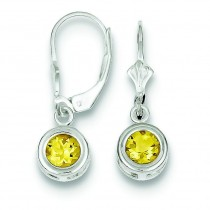 Round Citrine Leverback Earrings in Sterling Silver