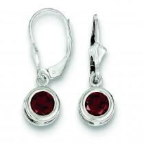 Round Garnet Leverback Earrings in Sterling Silver