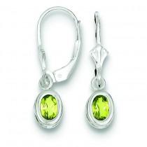 Oval Peridot Leverback Earrings in Sterling Silver