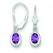 Oval Amethyst Leverback Earrings in Sterling Silver