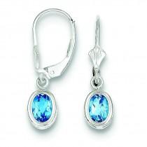 Oval Blue Topaz Leverback Earrings in Sterling Silver