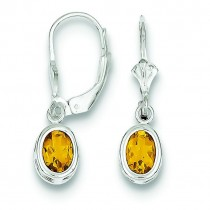 Oval Citrine Leverback Earrings in Sterling Silver