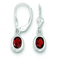 Oval Garnet Leverback Earrings in Sterling Silver