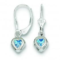 Heart Blue Topaz Leverback Earrings in Sterling Silver