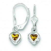 Heart Citrine Leverback Earrings in Sterling Silver