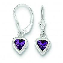 Heart Amethyst Leverback Earrings in Sterling Silver