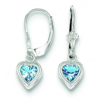 Heart Blue Topaz Leverback Earrings in Sterling Silver