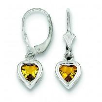 Heart Citrine Leverback Earrings in Sterling Silver