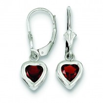 Heart Garnet Leverback Earrings in Sterling Silver
