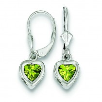 Heart Peridot Leverback Earrings in Sterling Silver