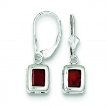 Emerald Cut Garnet Leverback Earrings in Sterling Silver