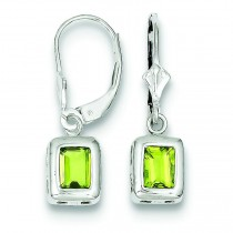 Emerald Cut Peridot Leverback Earrings in Sterling Silver