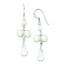 Freshwater Cultured Button Pearl Crystal Earrings in Sterling Silver