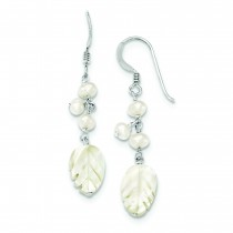 Freshwater Cultured Pearl And Mother Of Pearl Earrings in Sterling Silver
