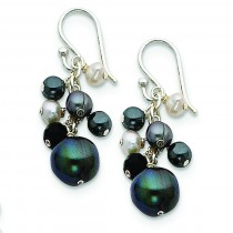 Crystal Hematite Fresh Water Cult Peacock White Pearl Earrings in Sterling Silver