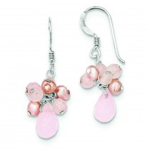 Rose Quartz Pink Freshwater Cultured Pearl Earrings in Sterling Silver