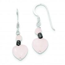 Rose Quartz Heart Earrings in Sterling Silver