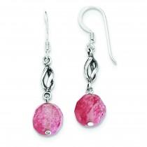 Cherry Quartz Antiqued Dangle Earrings in Sterling Silver