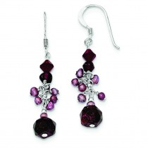 Cultured Pearl Dark Red Crystal Garnet Earrings in Sterling Silver